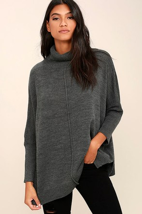 Chance of Cozy Dark Grey Sweater at Lulus.com!
