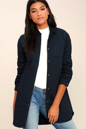 Whatever the Weather Quilted Navy Blue Jacket at Lulus.com!