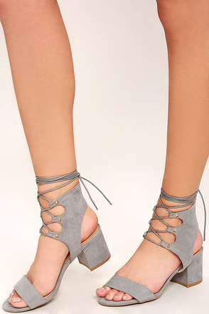 Certified Sass Grey Suede Lace-Up Heels at Lulus.com!