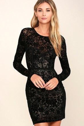 Cor-Set to Go Black Burnout Velvet Print Dress at Lulus.com!