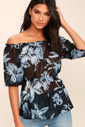 Giving Me Life Black Floral Print Off-the-Shoulder Top at Lulus.com!