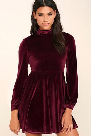 Embrace the Present Burgundy Velvet Skater Dress at Lulus.com!