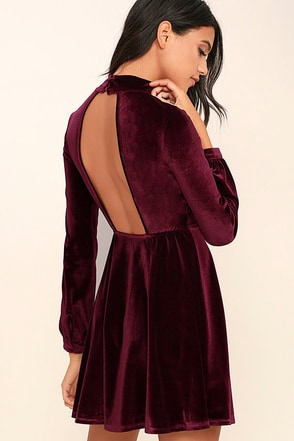 Embrace the Present Burgundy Velvet Skater Dress at Lulus.com!