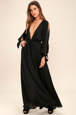 Owning It Charcoal Grey Satin Maxi Dress at Lulus.com!