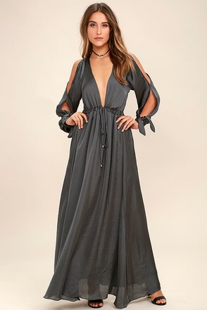 Owning It Black Satin Maxi Dress at Lulus.com!