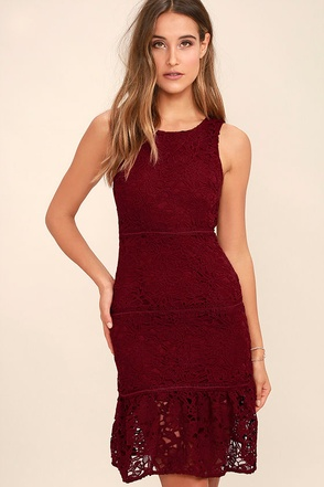 With You Tonight Burgundy Lace Dress at Lulus.com!