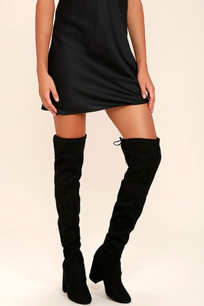 Steve Madden Norri Black Suede Over the Knee Boots at Lulus.com!