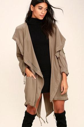 Chic Taupe Jacket - Long Jacket - Hooded Jacket - Lightweight Coat - $76.00
