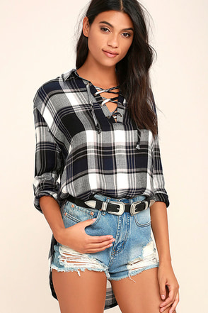 Afternoon Hike Navy Blue Plaid Lace-Up Top at Lulus.com!