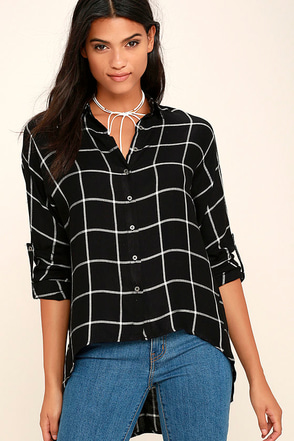 Exact Coordinates White and Black Grid Print Top at Lulus.com!