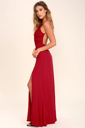 NBD Stephania Red Lace Backless Maxi Dress at Lulus.com!