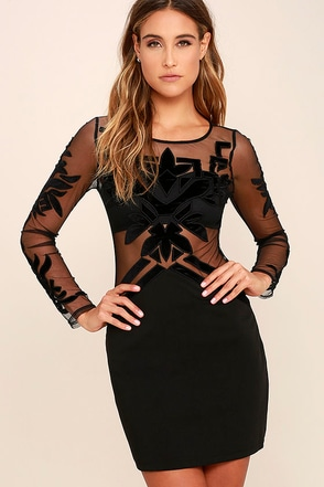 Dream in Deco Black Long Sleeve Bodycon Dress at Lulus.com!