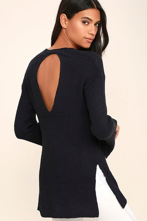 Chill Zone Navy Blue Backless Sweater at Lulus.com!