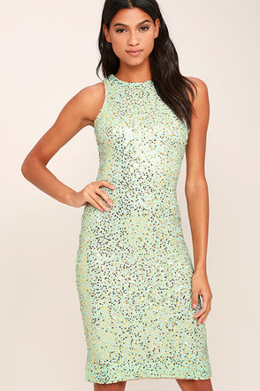 Dress the Population Shawn Gold and Mint Sequin Dress at Lulus.com!