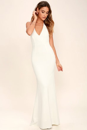 Love Potion Ivory Lace Halter Maxi Dress at Lulus.com!