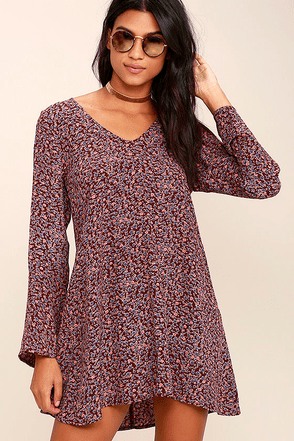 Lucy Love Moon Child Burgundy Floral Print Dress at Lulus.com!