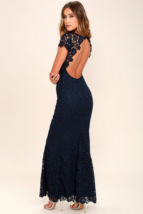 My Flare Lady Navy Blue Lace Maxi Dress at Lulus.com!