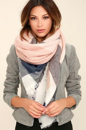 Cheering Section Blush Pink Plaid Scarf 1