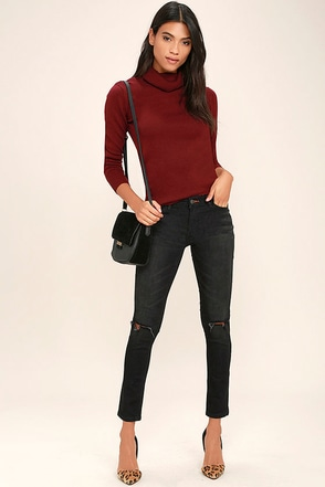 Dittos Selena Washed Black Distressed Ankle Skinny Jeans at Lulus.com!