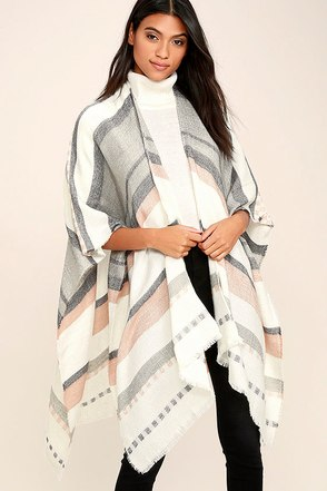 Gentle Fawn Kirin Ivory Striped Poncho at Lulus.com!
