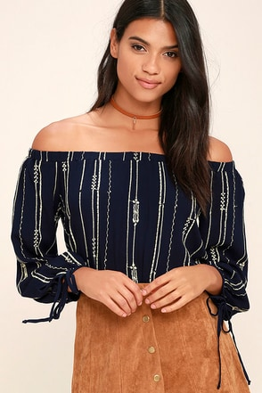 Change the World Navy Blue Off-the-Shoulder Top at Lulus.com!
