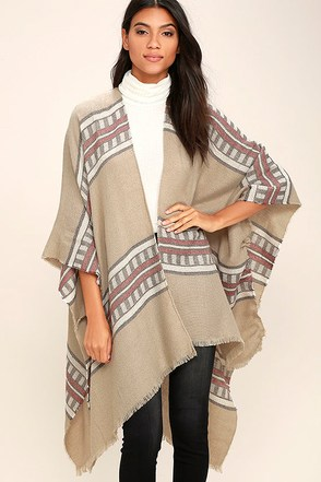Gentle Fawn Kirin Taupe Striped Poncho at Lulus.com!