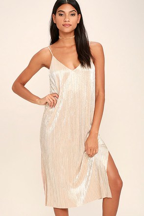 Don't Forget About Us Light Gold Midi Dress at Lulus.com!