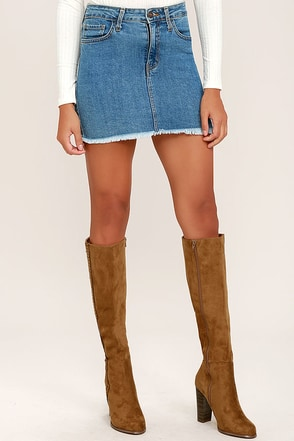 Tennessee Chestnut Suede Knee High Heel Boots at Lulus.com!