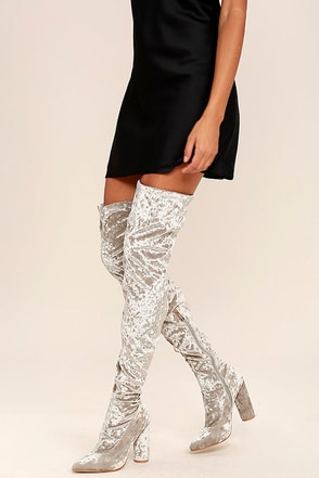 Julia Grey Velvet Thigh High Boots at Lulus.com!