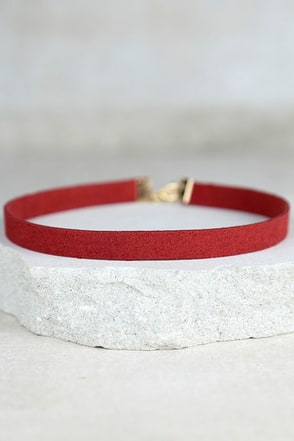 Love Connection Wine Red Suede Choker at Lulus.com!