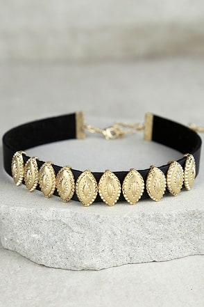 Power Player Black and Gold Choker Necklace at Lulus.com!
