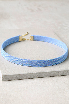 Now and Denim Light Blue Choker Necklace at Lulus.com!