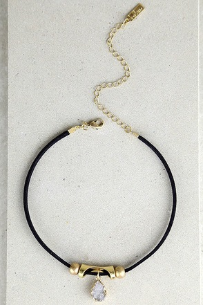 Gem Show Black and White Choker Necklace at Lulus.com!
