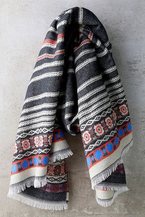 Cold Front Navy Blue Print Scarf at Lulus.com!