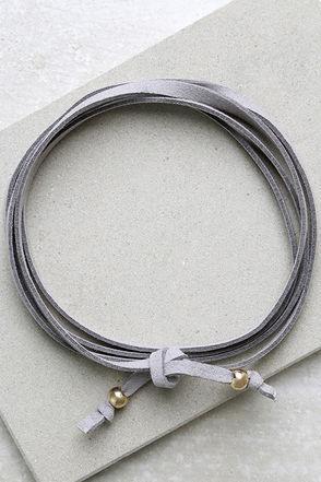 Staying Power Grey Wrap Necklace at Lulus.com!