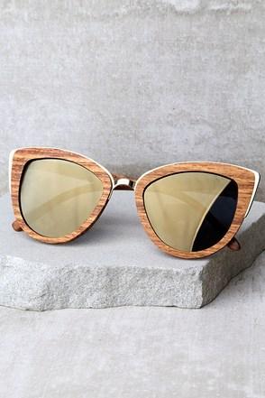 Woodzee Lexi Dark Gold Mirrored Pear Wood Sunglasses 1