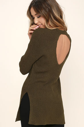 Chill Zone Olive Green Backless Sweater at Lulus.com!