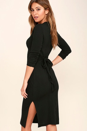 Wrapped Around Your Finger Heather Brown Bodycon Midi Dress at Lulus.com!