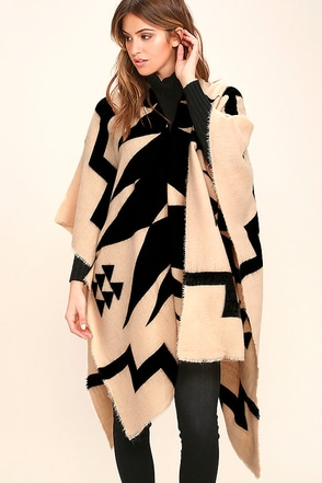 Billabong Beachy Night Beige Print Poncho at Lulus.com!