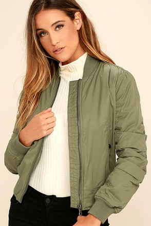 Billabong Lost in Time Olive Green Bomber Jacket at Lulus.com!