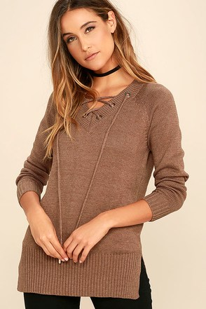 Chic Cred Brown Lace-Up Sweater at Lulus.com!