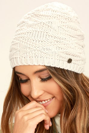 Billabong Get Cozy Cream Knit Beanie at Lulus.com!