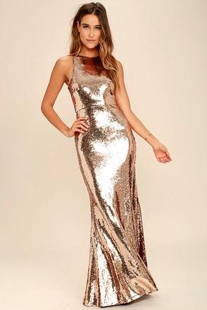 Notorious Rose Gold Sequin Maxi Dress 1