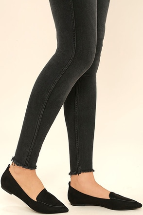 Emmy Black Suede Pointed Loafers at Lulus.com!