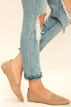 Emmy Camel Suede Pointed Loafers at Lulus.com!