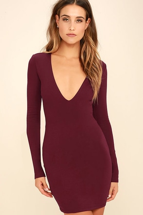 Fun and Fame Burgundy Long Sleeve Bodycon Dress at Lulus.com!