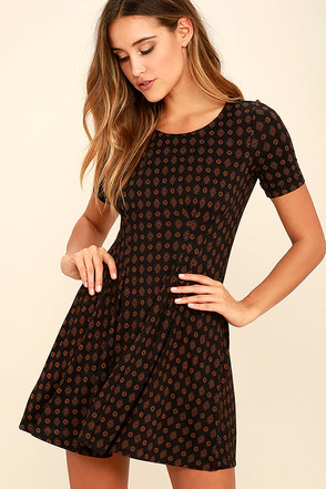 RVCA Sylas Black Print Dress at Lulus.com!