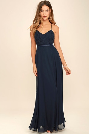 Stealing Kisses Navy Blue Lace Maxi Dress at Lulus.com!