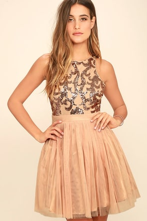 Now and Femme Rose Gold Sequin Dress at Lulus.com!