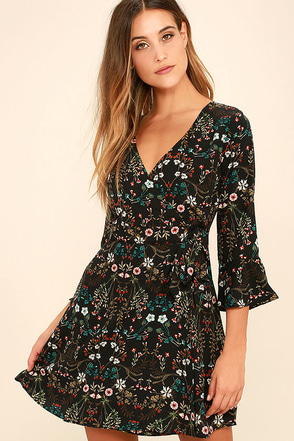 Lady of the Greenhouse Black Floral Print Wrap Dress at Lulus.com!